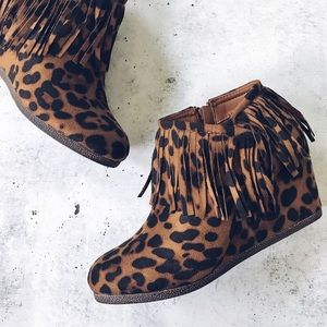 Shoes - Leopard Print Fringe Wedge Booties